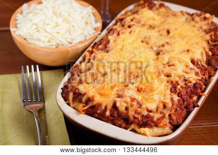 Baked Macaroni Bolognese shot from above horizontal view