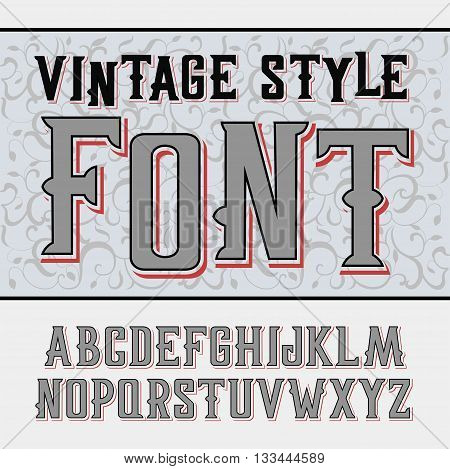 Vector handy crafted vintage label font. High tower