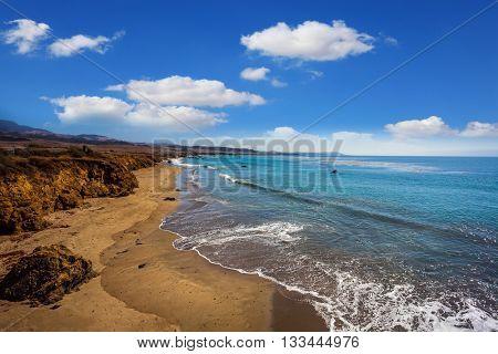 Pacific Coast Highway and sandy coastline in California