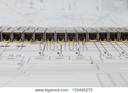 Electric gigabit sfp modules for network switch on the blueprint of  communication equipment