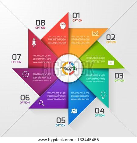 Windmill style circle infographic template for graphs charts diagrams. Business education and industry concept with 8 options parts steps processes.