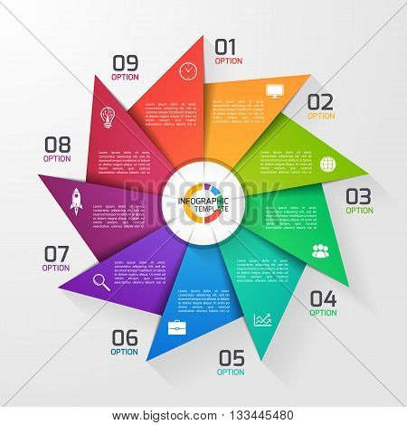 Windmill style circle infographic template for graphs charts diagrams. Business education and industry concept with 9 options parts steps processes.