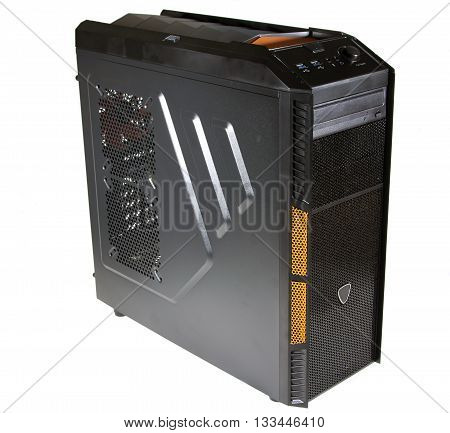 The case of a personal computer on a white background