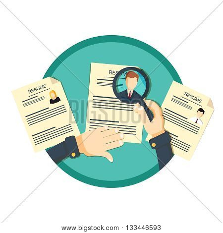 Recruitment concept. Hand zoom magnifying glass picking business person resume. Vector illustration