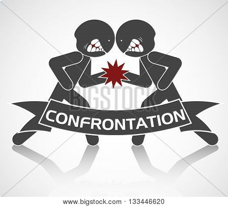 vector schematic image of confrontation. two arguing people, isolated objects