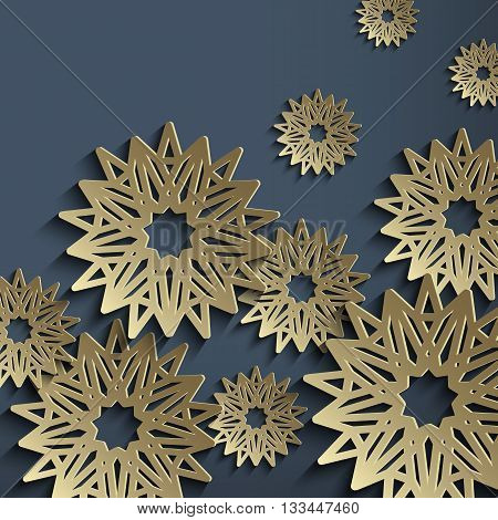 3d vector background with stylized flowers made of metal. Architectural motifs with the effect of old gold or brass