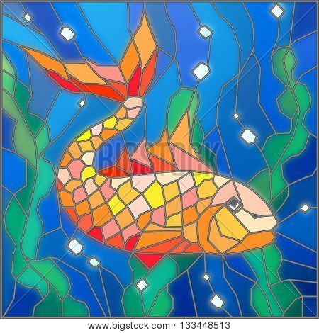 Illustration in stained glass style with gold fish on the background of water and algae
