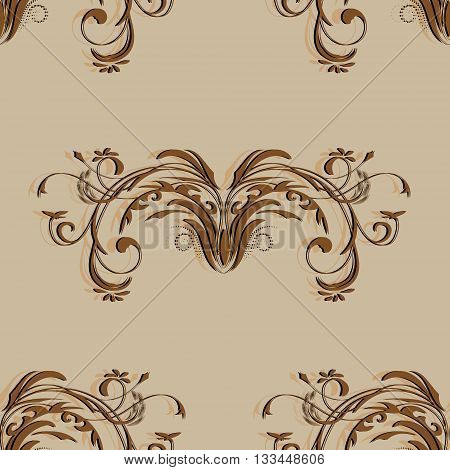 Vintage brown seamless pattern with elements of abstract floral pattern on light brown background, vector illustration