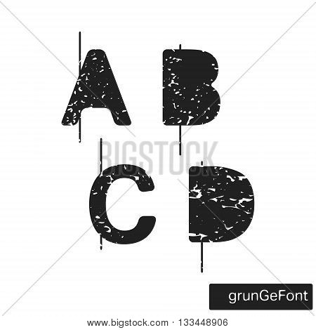 Alphabet grunge font template. Set of letters A B C D logo or icon. Vector illustration.