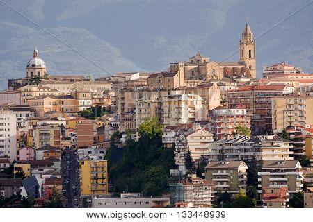 chieti one of the capitals of Abruzzo photographs with the background of Majella