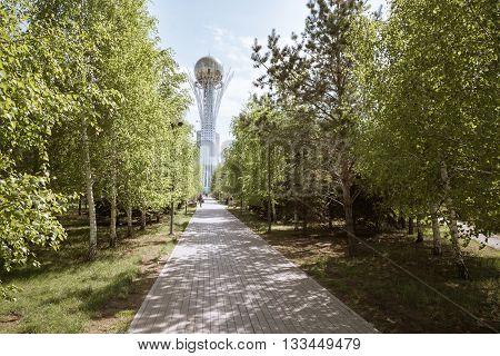Astana city in day Bayterek Kazakhstan Central Asia