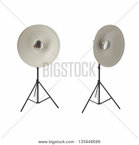 Set of Pulse studio flash with beauty dish on a stand over isolated white background
