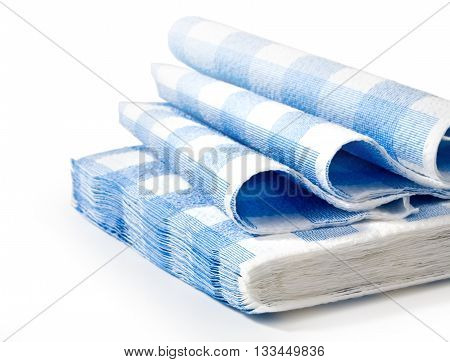 Blue napkin isolated on white with cliipping path with copy space