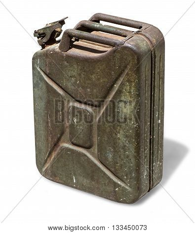 Old rusty canister jerrycan isolated on white background with clipping path