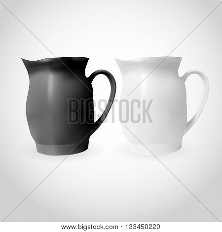 White And Black Porcelain Pitcher Isolated. Original Kitchen Mock-up. Clean Illustration.