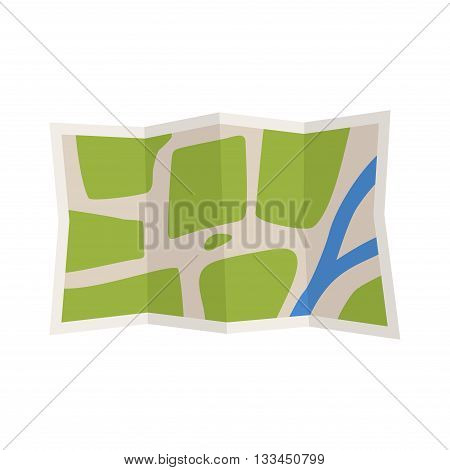 Travel route map in flat style. World map travellers picture frame travel geography. Map icon isolated on fhite background