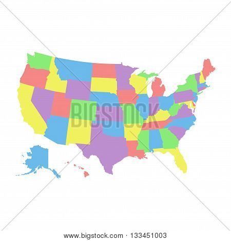 High detail USA map with different colors for each country. United States of America map in flat style. america usa federal states map isolated on white background