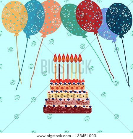 Birthday cake with seven candles. Seven years. A cake with candles for his birthday. Holidays and celebrations. Air balloon.