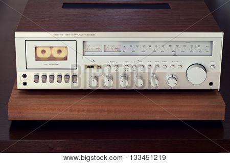 Vintage Cassette Deck Stereo Receiver Front Closeup