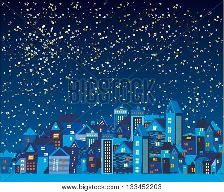 Beautiful night city with the stars and the moon made of flowers