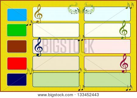 musical  board The painting depicts a musical board, into the empty space, designers can add their own versions.