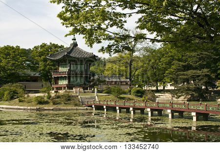 SEOUL KOREA - MAY 17 2015: Hyangwonjeong Pavilion at Gyeongbokgung Palace in Seoul South Korea on May 17 2015