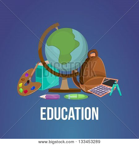 Cartoon education poster or flyer tools books accessories needed to study subjects and learning in general vector illustration