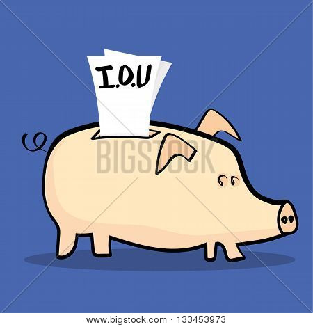 Traditional pink piggy bank with a bunch of IOU notes stuffed into it signifying that money has been taken out to pay for debts