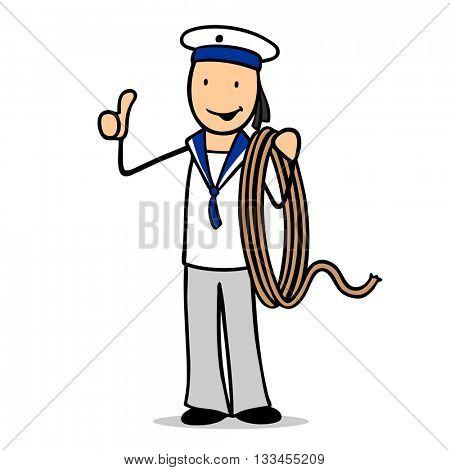 Happy cartoon sailor man holding his thumbs up
