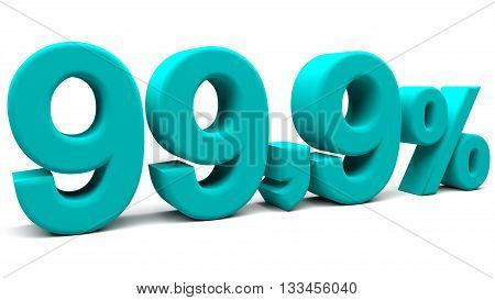 Ninety nine point nine percents 3D text with big fonts isolated on white background. 3D rendering.