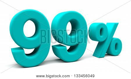 Ninety nine percents 3D text with big fonts isolated on white background. 3D rendering.