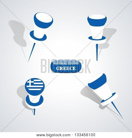 Set of pushpin in the national colors of Greece vector illustration.