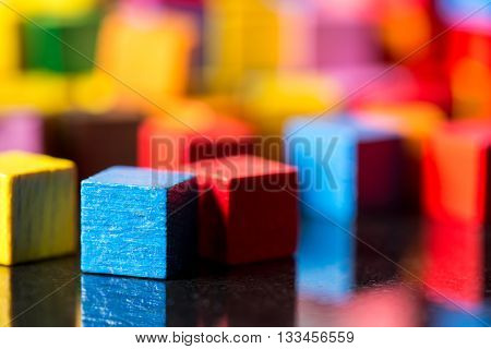 Closeup, Lots Of Colorful Toy Blocks