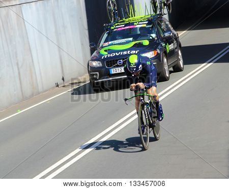 APELDOORN, NETHERLANDS-MAY 6 2016: Giovanni Visconti of pro cycling team Movistar during the Giro d'Italia prologue time trial.