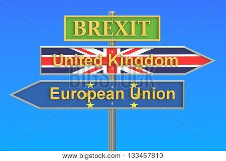 Brexit referendum concept 3D rendering isolated on white background