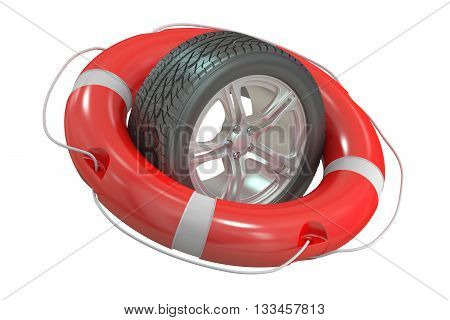 car wheel with lifebuoy 3D rendering isolated on white background