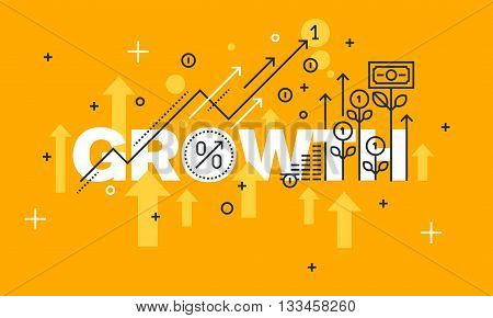 Thin line flat design banner for GROWTH web page, finance, investment, banking, production growth, the company's profits. Modern vector illustration concept of word GROWTH for website and mobile website banners.