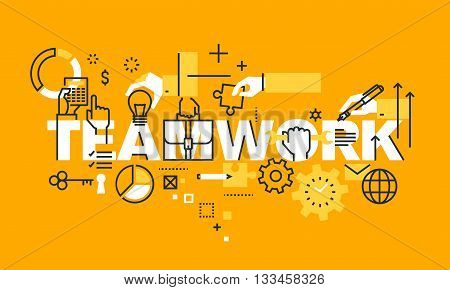 Thin line flat design banner for TEAMWORK web page, management information, about us information, our team, business procedures, projects. Modern vector illustration concept of word TEAMWORK for website and mobile website banners.