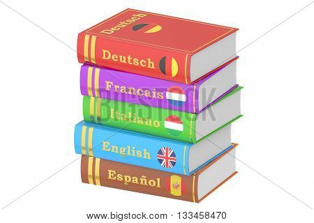Stack of Languages Books 3D rendering isolated on white background