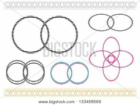 Different icons formed by overlapping circles. Editable Clip Art.