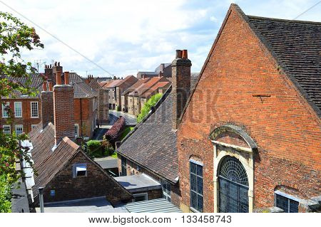 Houses in the city centre of York viewed from the surrounding city wall
