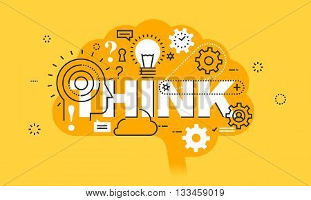 Thin line flat design banner for THINK web page, learning, knowledge, innovation, creativity, solutions. Modern vector illustration concept of word THINK for website and mobile website banners.