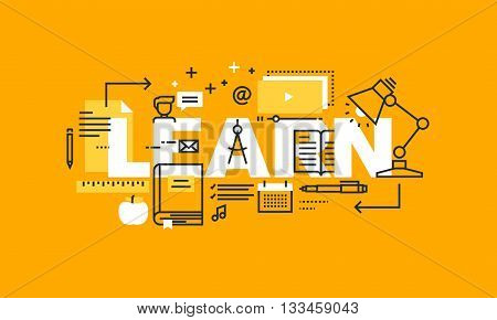Thin line flat design banner for LEARN web page, learning, distance education, professional development. Modern vector illustration concept of word LEARN for website and mobile website banners.