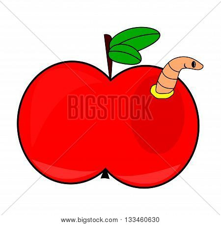 Cartoon Apple With Worm Vector Symbol Icon Design. Illustration Isolated On White Background