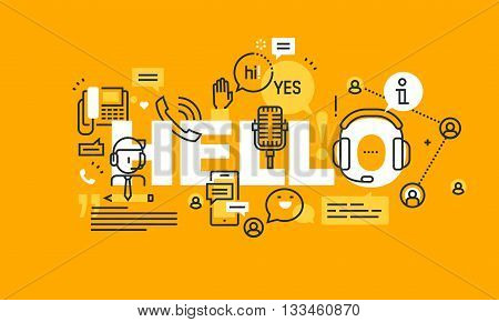 Thin line flat design banner for HELLO web page, call center, technical support, customer assistance. Modern vector illustration concept of word HELLO for website and mobile website banners.