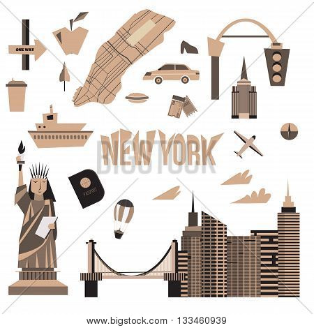 Vector set of Vintage New York city icons in cartoon style. Statue of liberty, map, cityscape, taxi