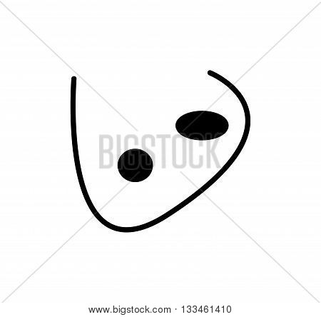 Cartoon Nose. Silhouette Vector Illustration Isolated On White Background