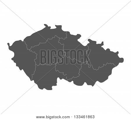 map of czech republic with regions illustrated