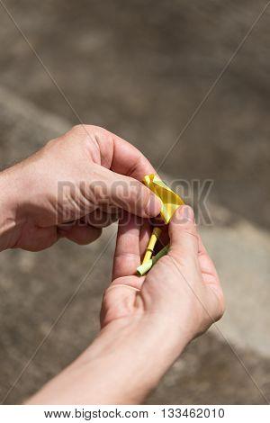 Man Is Open A Lottery Ticket
