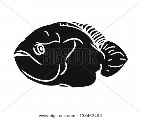 A fish silhouette. Black image of a fish with fins on a white background. Vector illustration